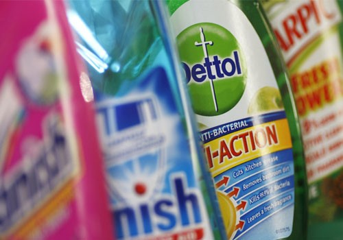 Products produced by Reckitt Benckiser - Vanish, Finish, Dettol and Harpic - are seen in London
