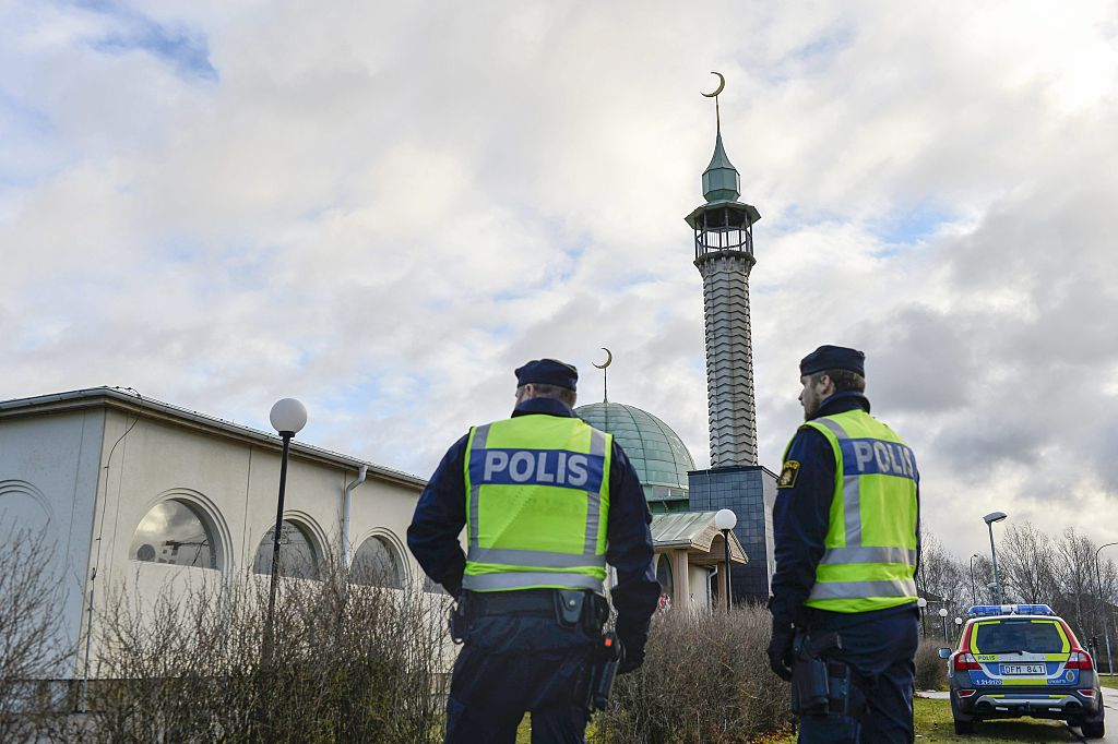 Police outside a mosque in Uppsala