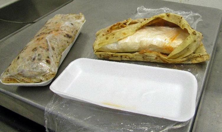 meth-filled burritovalued at more than $3,000 (£2,046)