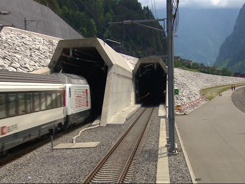 Swiss train in Gotthard Base Tunnel