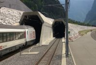 Swiss train in Gotthard Base Tunnel
