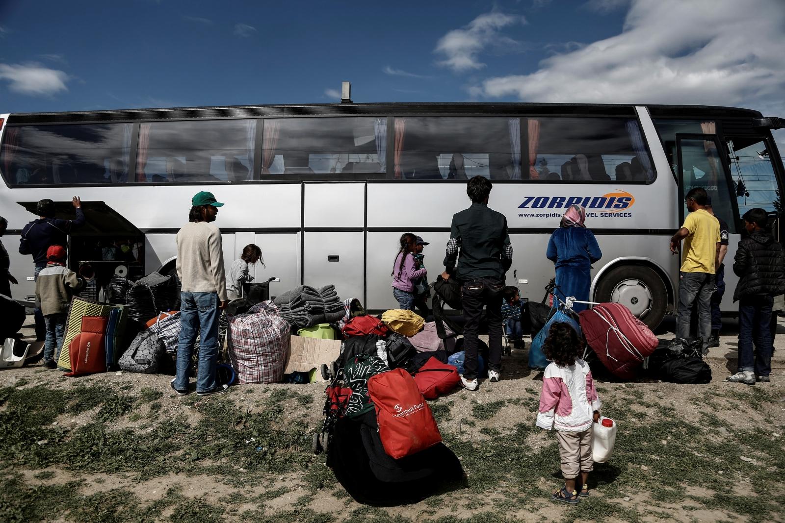 Syrian refugees near Greece