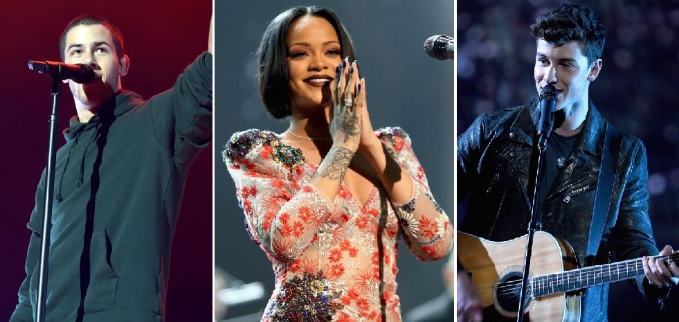 Nick Jonas, Rihanna, Shawn Mendes