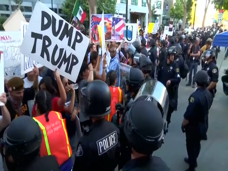 Anti-Trump demonstrators clash with police