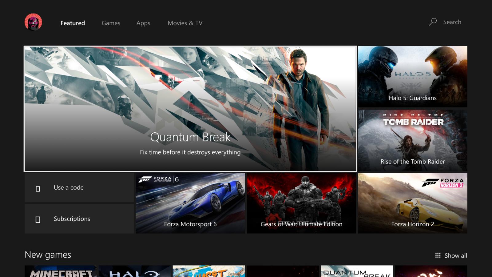 Xbox One Anniversary Dashboard Store