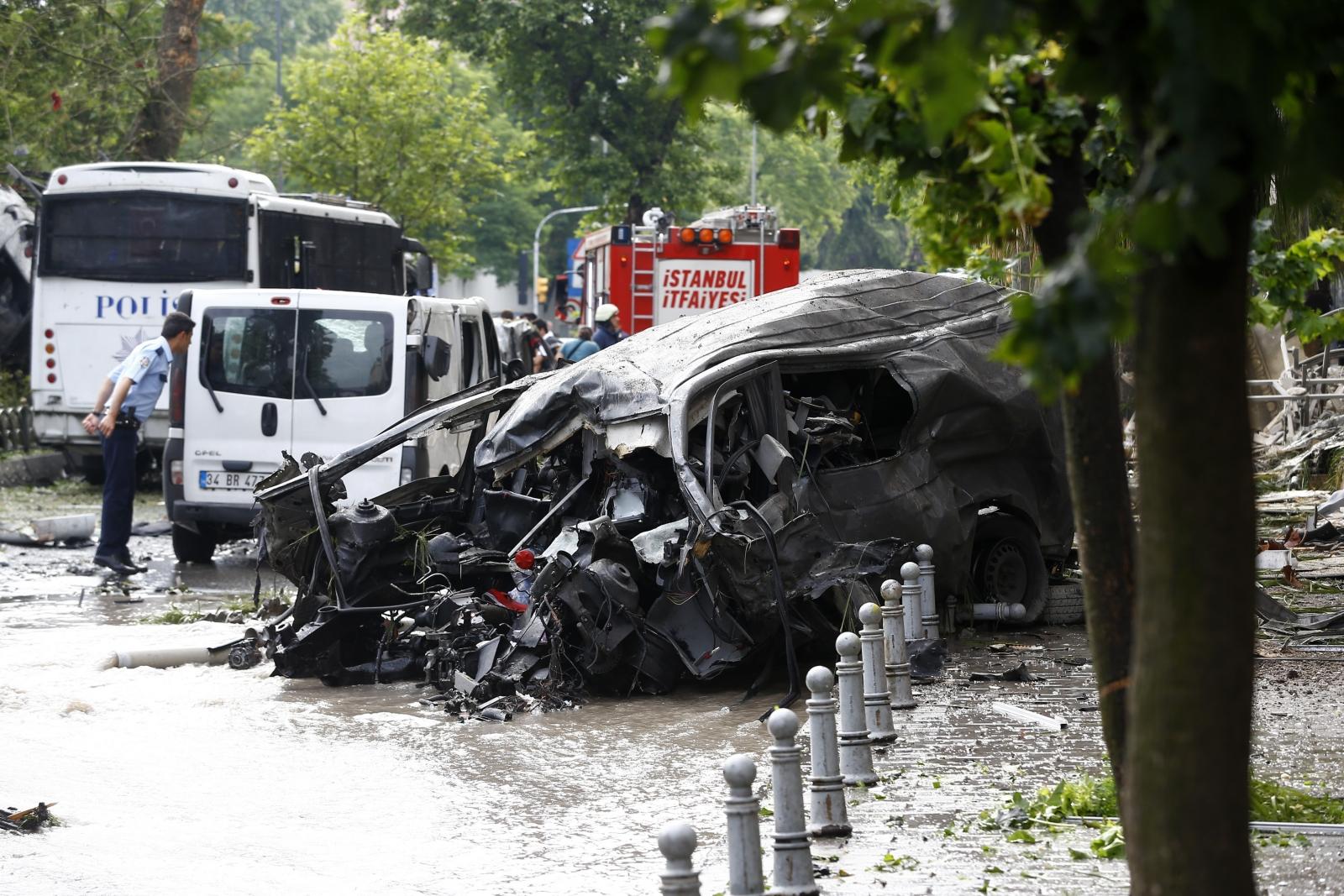 A destroyed van