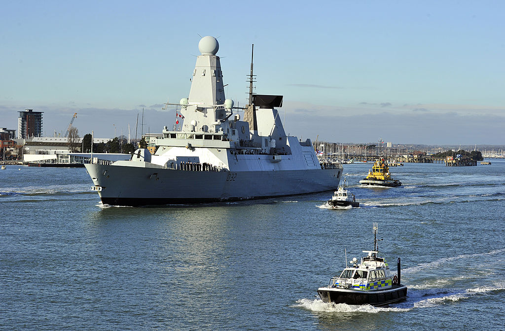 New British Royal Navy destroyer HMS Daring, the first of the Royal Navy's new Type 45 destroyers, leaves the southern English harbour of Portsmouth