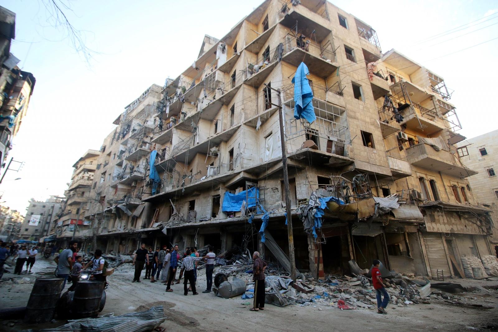 Aleppo Syria June 2016 bomb damage