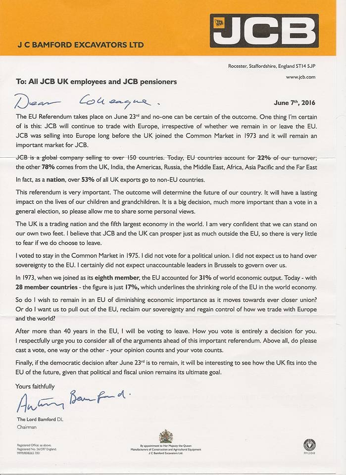 Lord Bamford Brexit letter