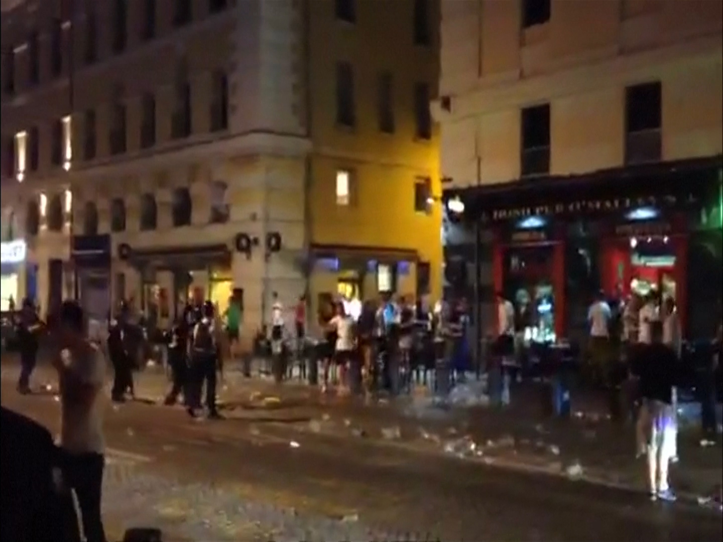 England fans face off against police
