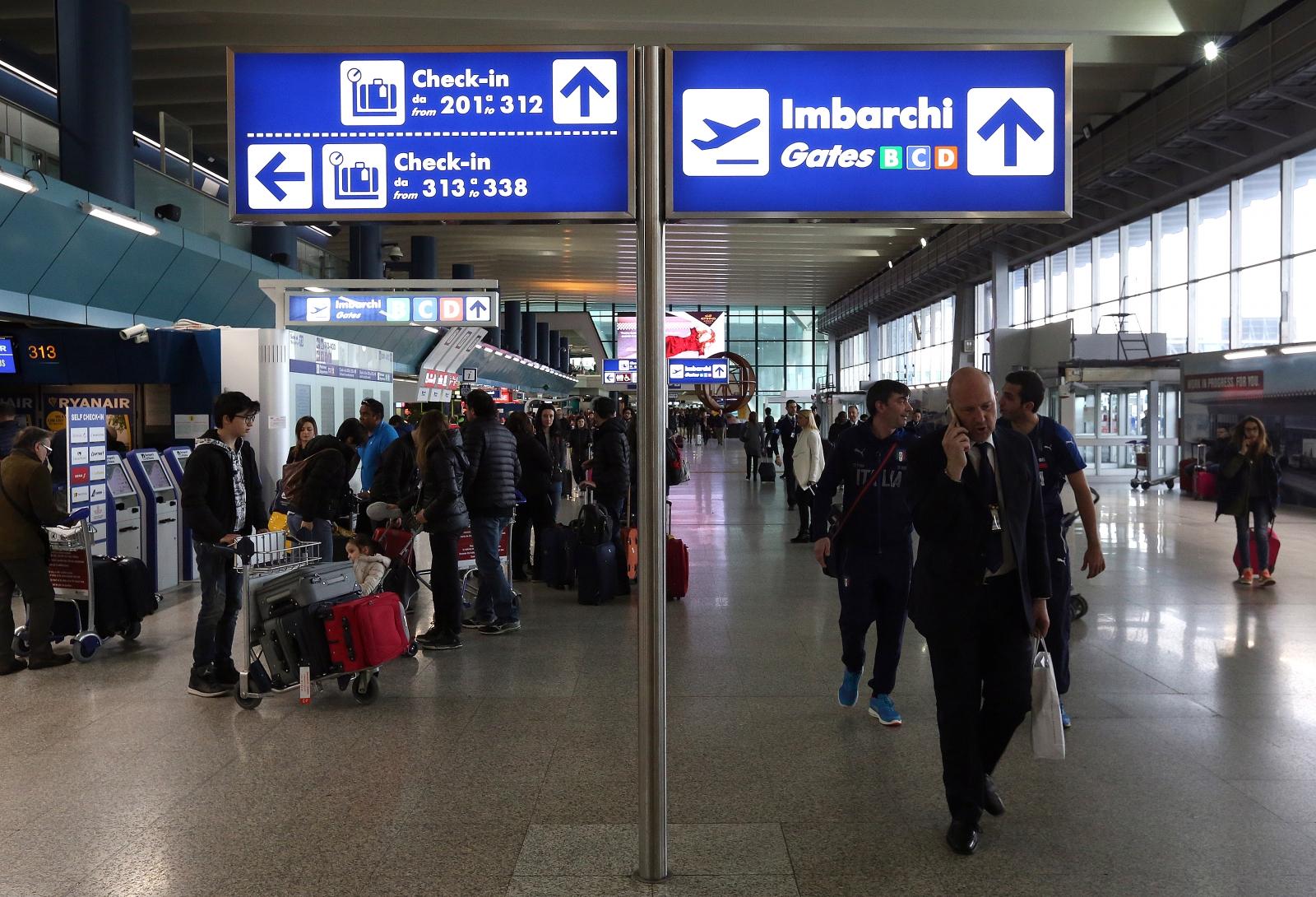 Fiumicino airport in Rome.
