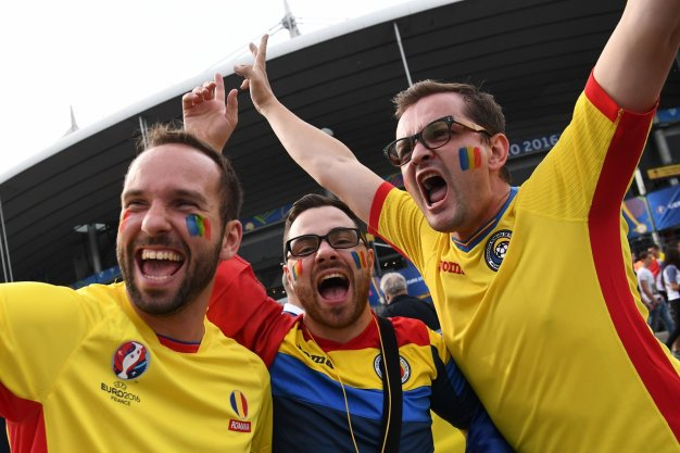 Romanian fans outside the ground