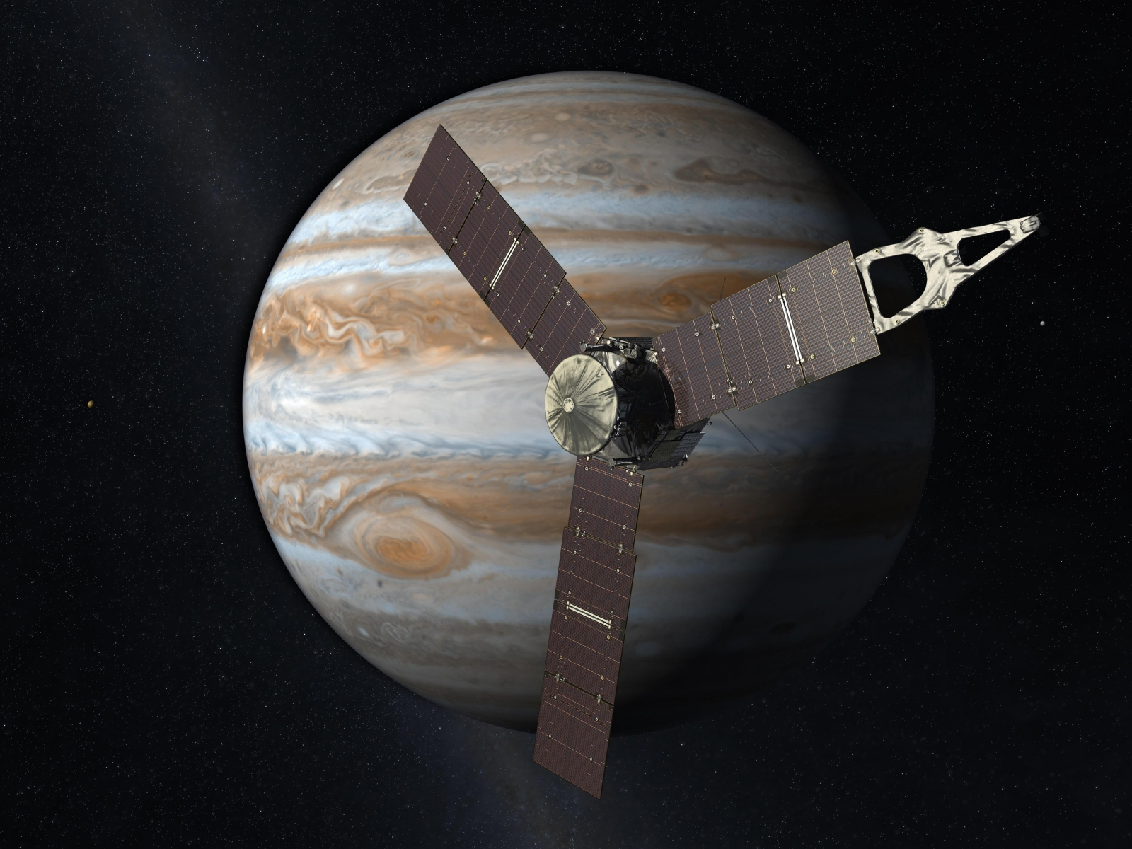 Juno spacecraft with Jupiter