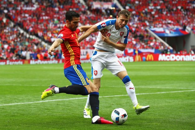 Cesc on the ball for Spain