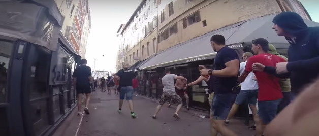 Violence flares between Russian and English football fans in Marseille