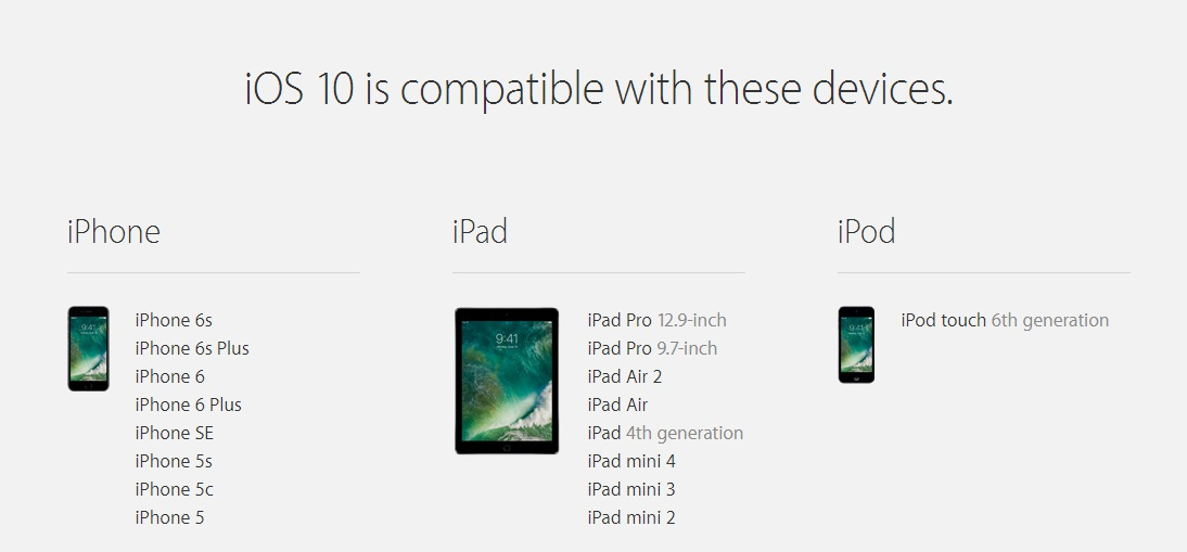 iOS 10 compatible devices list