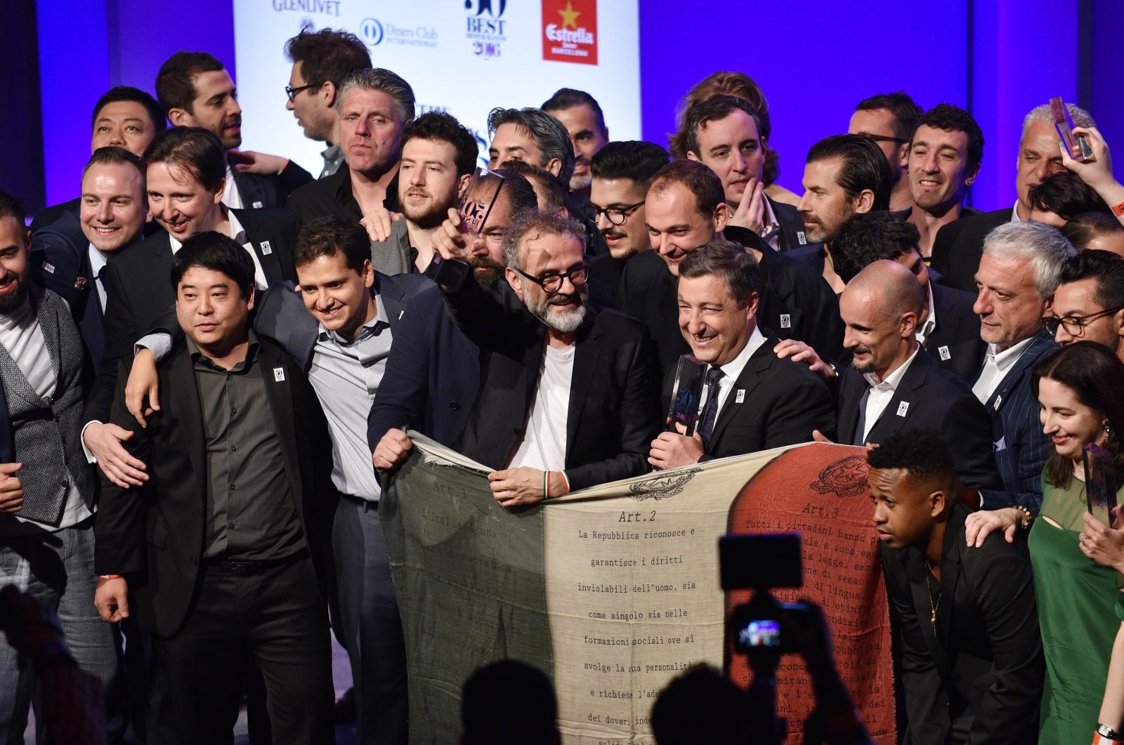Massimo Batturo celebrates winning with other chefs
