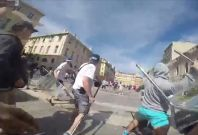 Russian football thug posts GoPro  footage of violent attacks on English fans