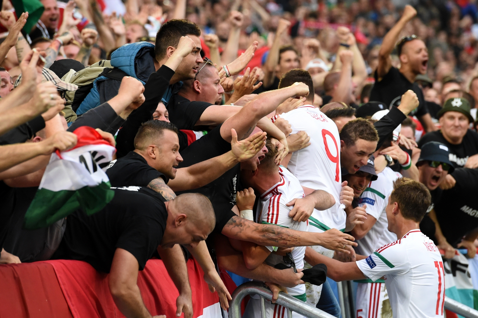 Hungary's players and fans celebrate