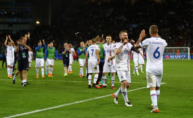 Iceland celebrate Portugal draw.