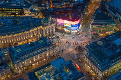 Aerial photos London night