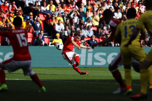Shaqiri shoots at goal