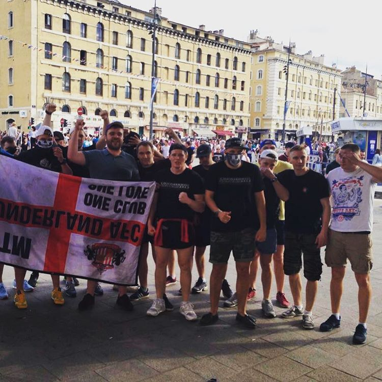 Russian hooligans pose in Marseille