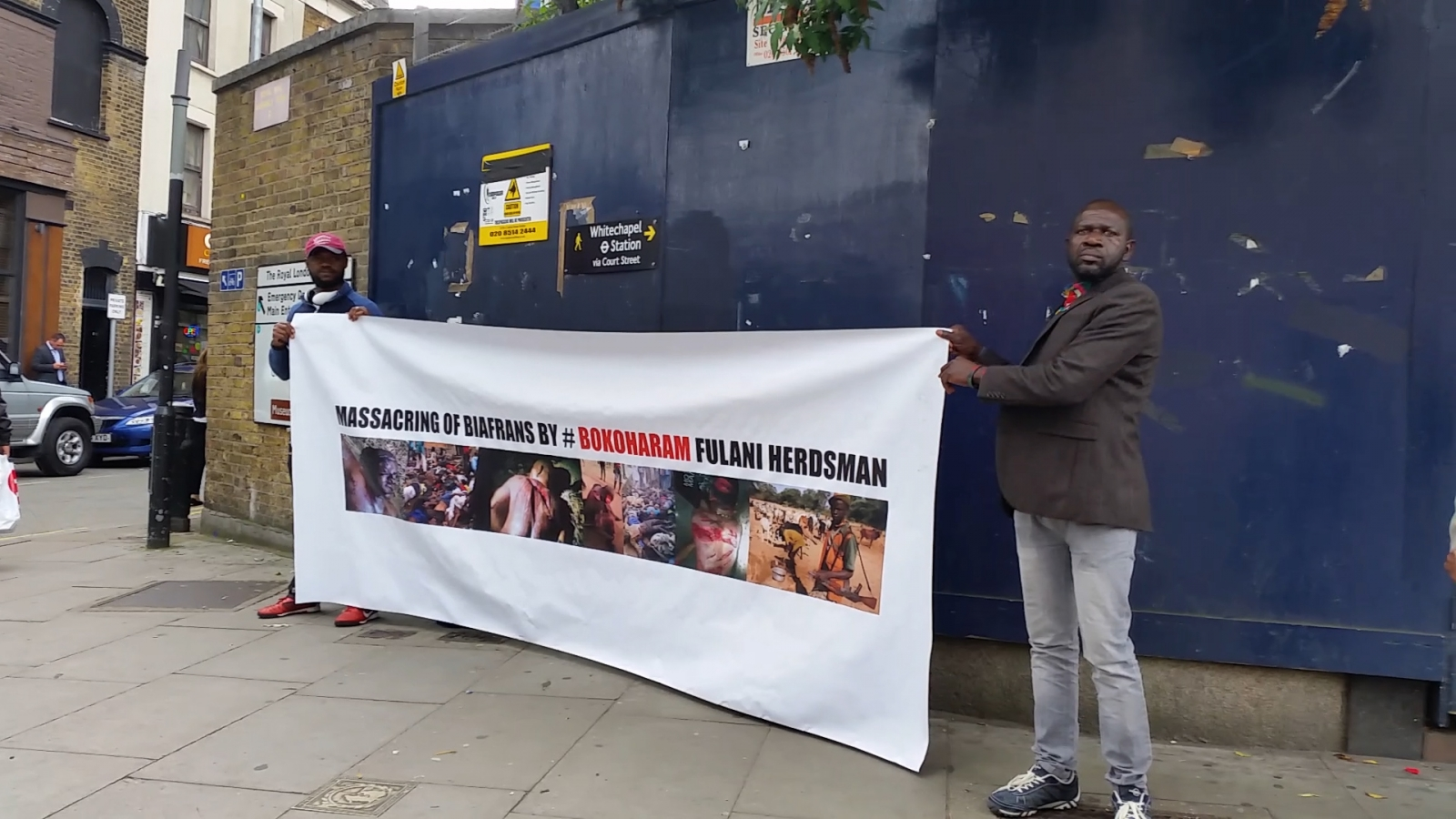 Pro-Biafrans stage silent protest in Whitechapel hoping to engage President Buhari