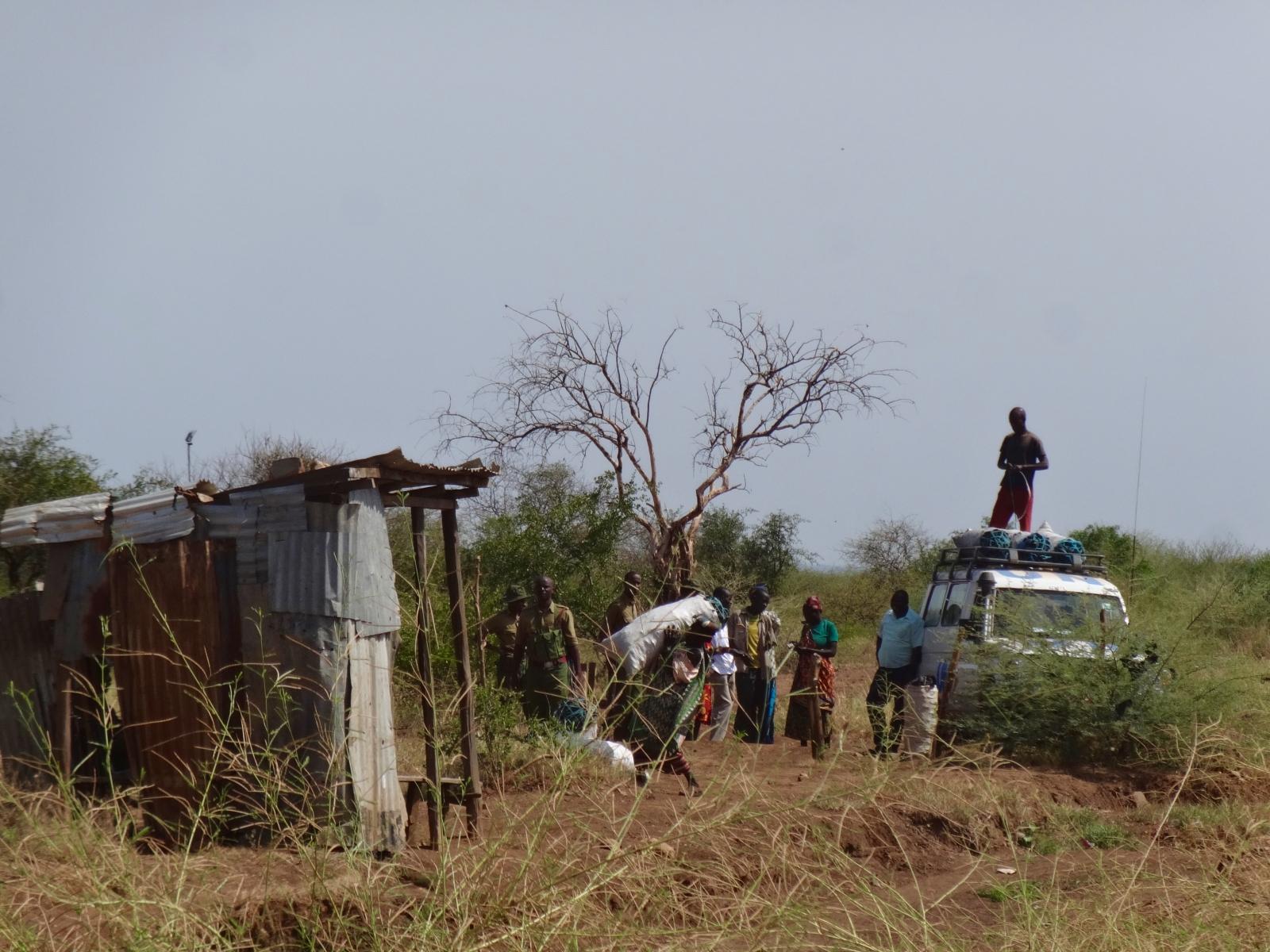 South Sudanese crossing the border into Kenya