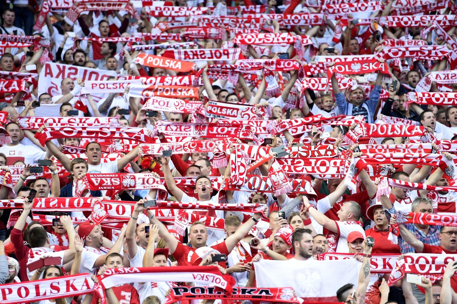 Polish scarfs inside the stadium