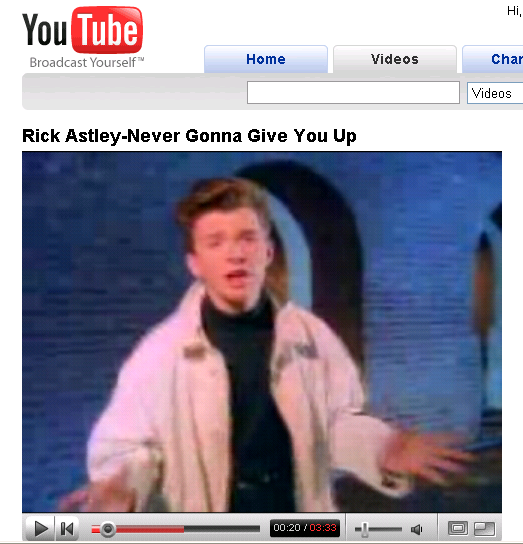 Rick Astley 'RickRoll' Video