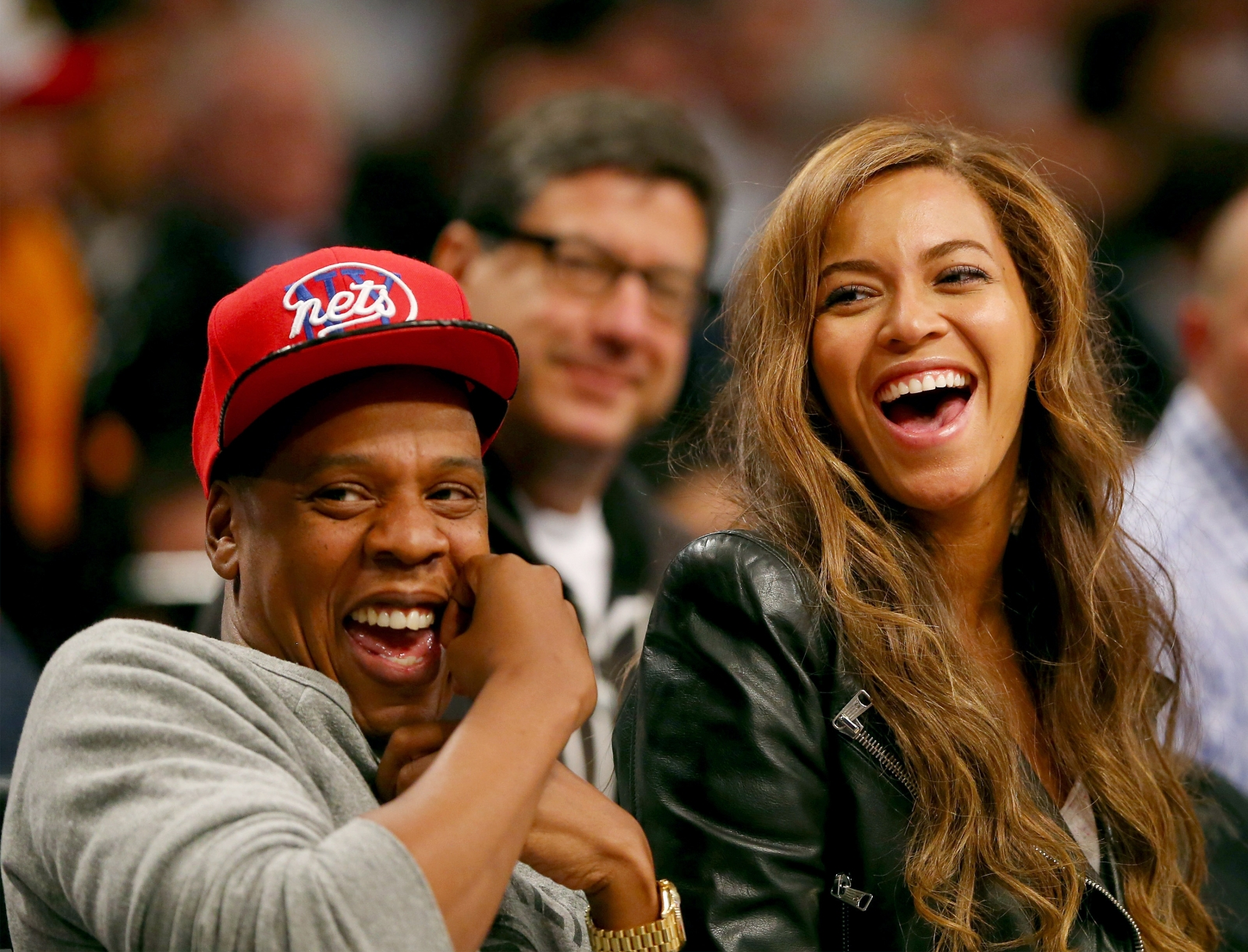 Beyonce and Jay-Z attend Game Six of the Eastern Conference Quarterfinals during the 2014 NBA Playoffs