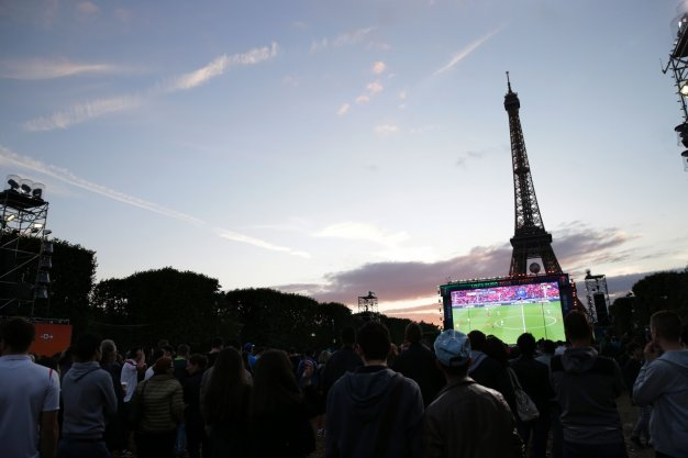 Fans watching the game in Paris
