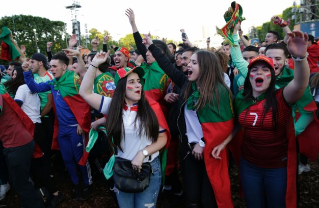 Portugal fans watching the big game