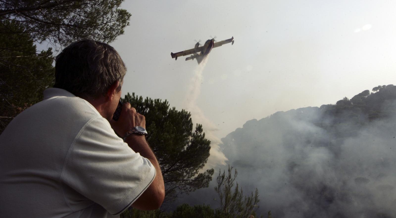 A firefighter watche