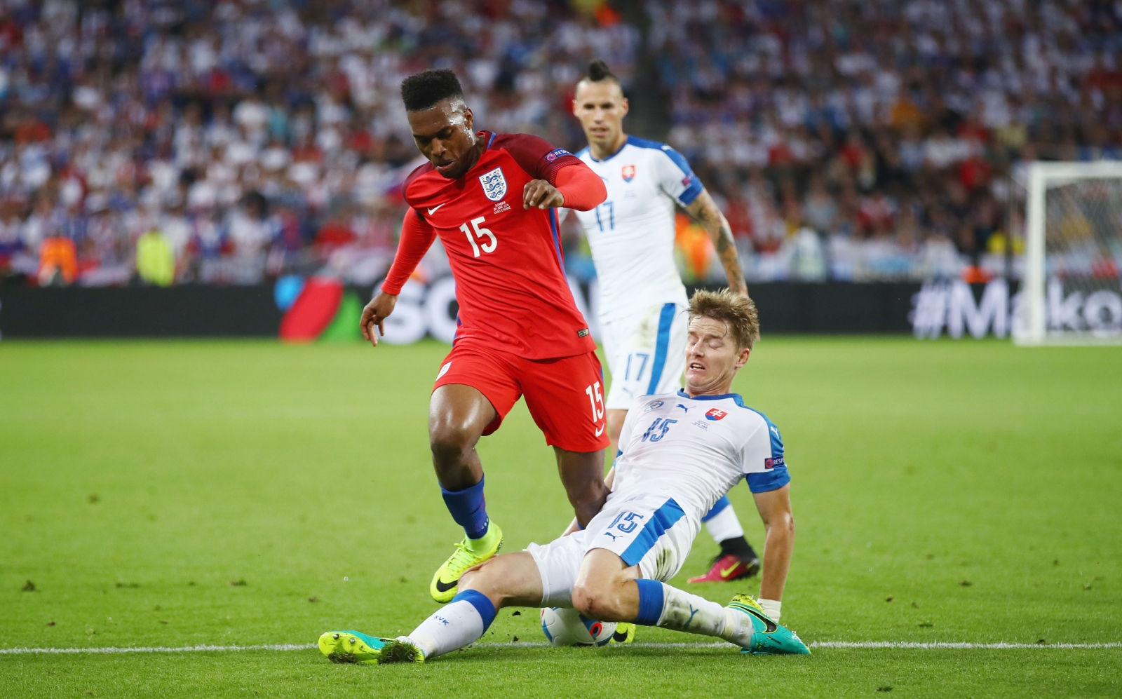 Daniel Sturridge is tackled