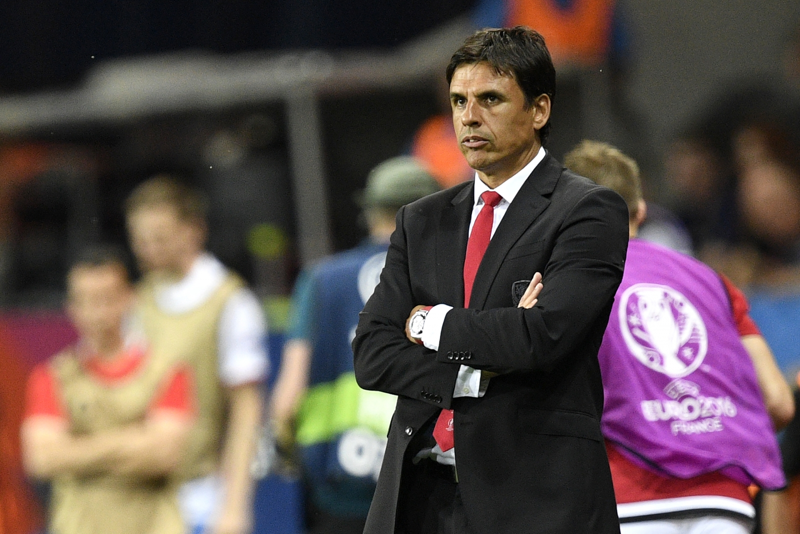 Chris Coleman watches on