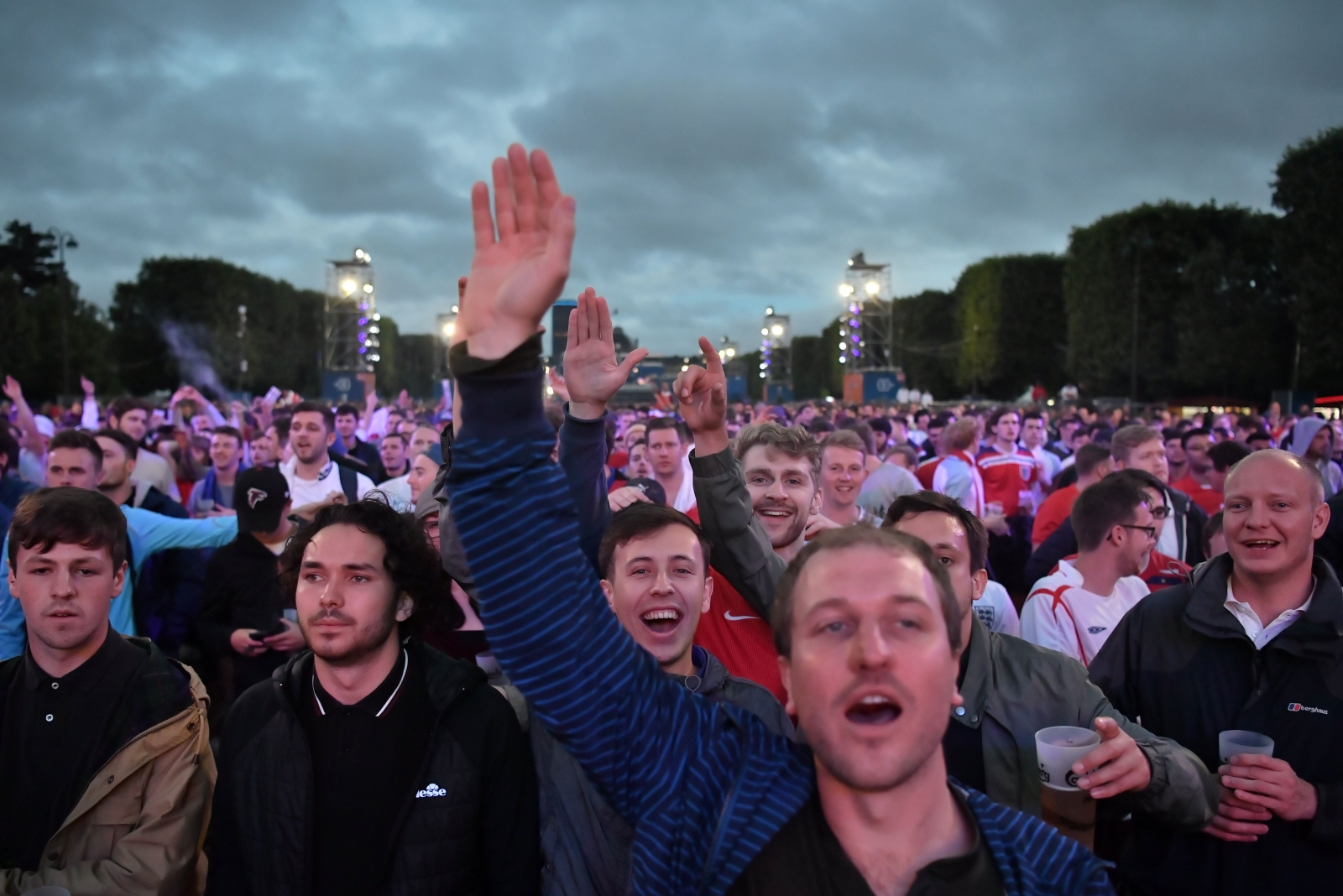 Supporters watching the game in the fanzone
