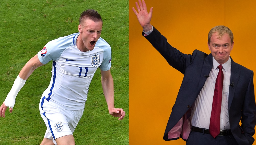 Jamie Vardy and Tim Farron