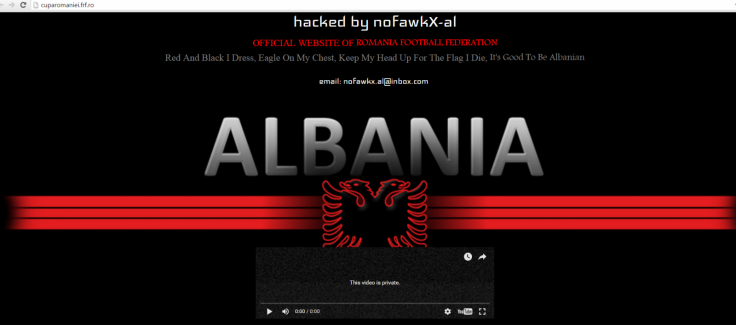 Albanian hacker deface Romanian Football Federation website after Euro 2016 match