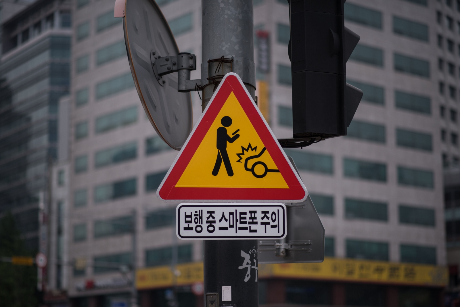 Warning sign for texting pedestrians