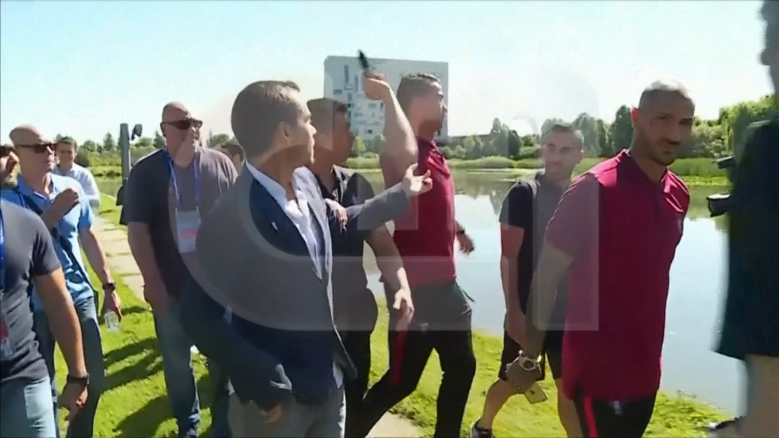 Euro 2016: Portugal captain Cristiano Ronaldo throws microphone in lake after asked if he is ready for Hungary clash
