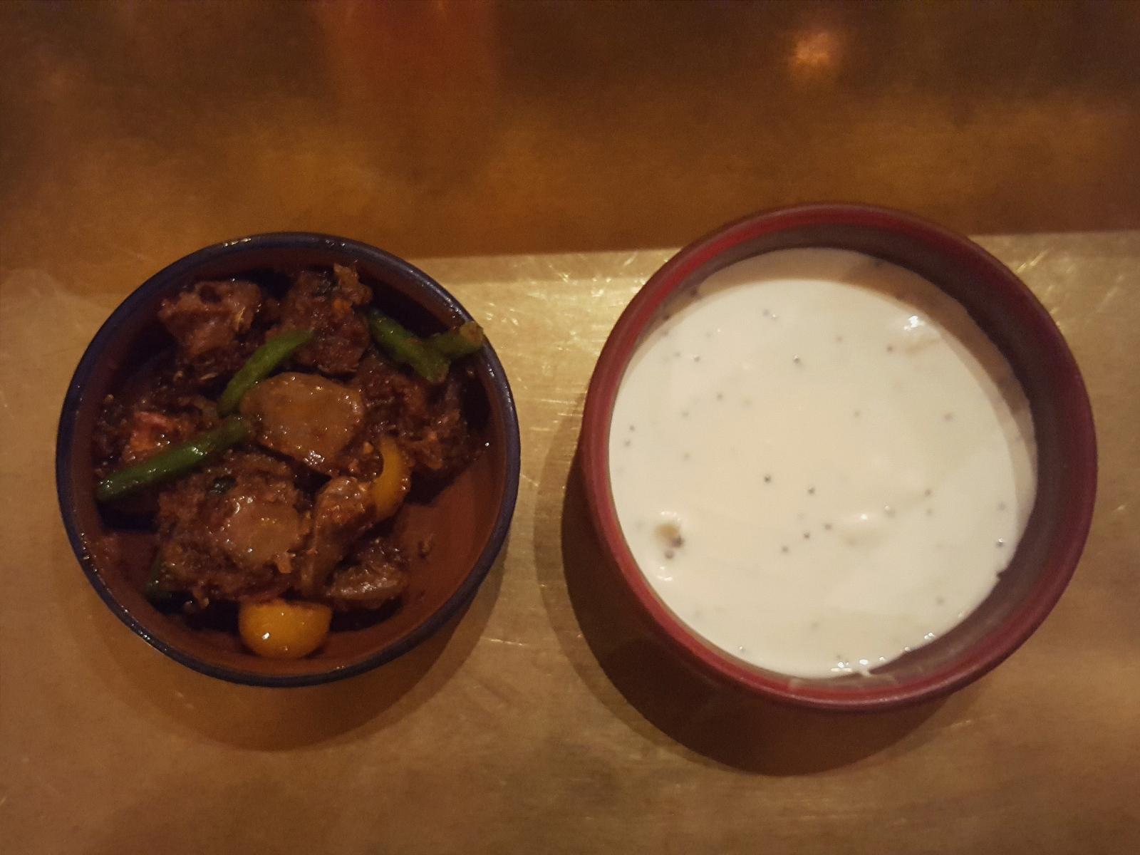 Duck heart chukka and yoghurt at Hoppers