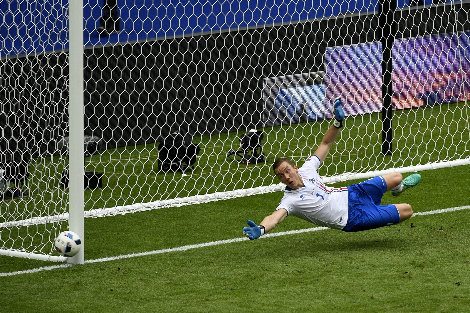 Austria's penalty strikes the post
