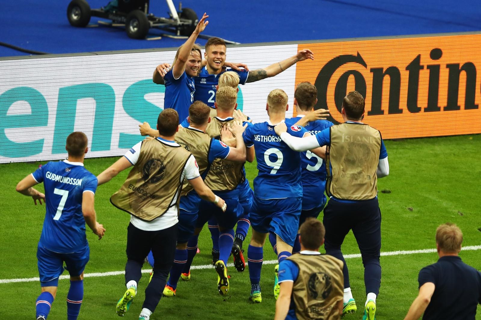 Iceland celebrate their winning goal