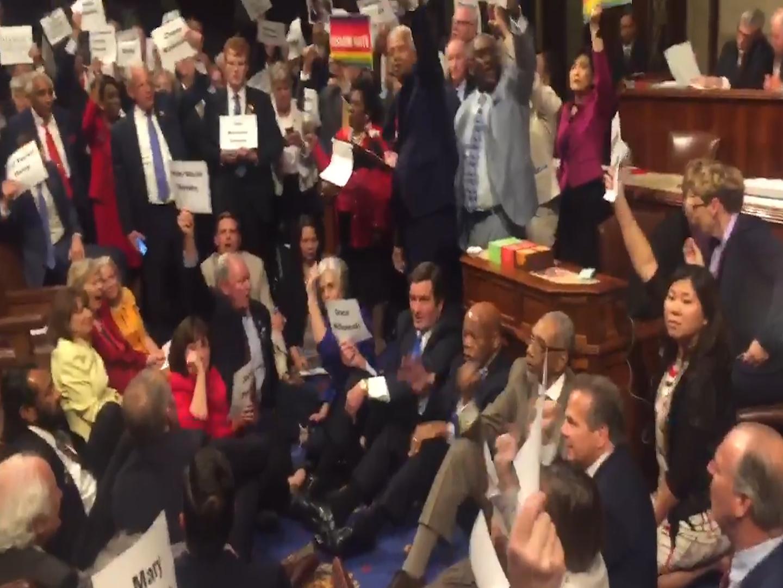 US democrats stage sit on gun control