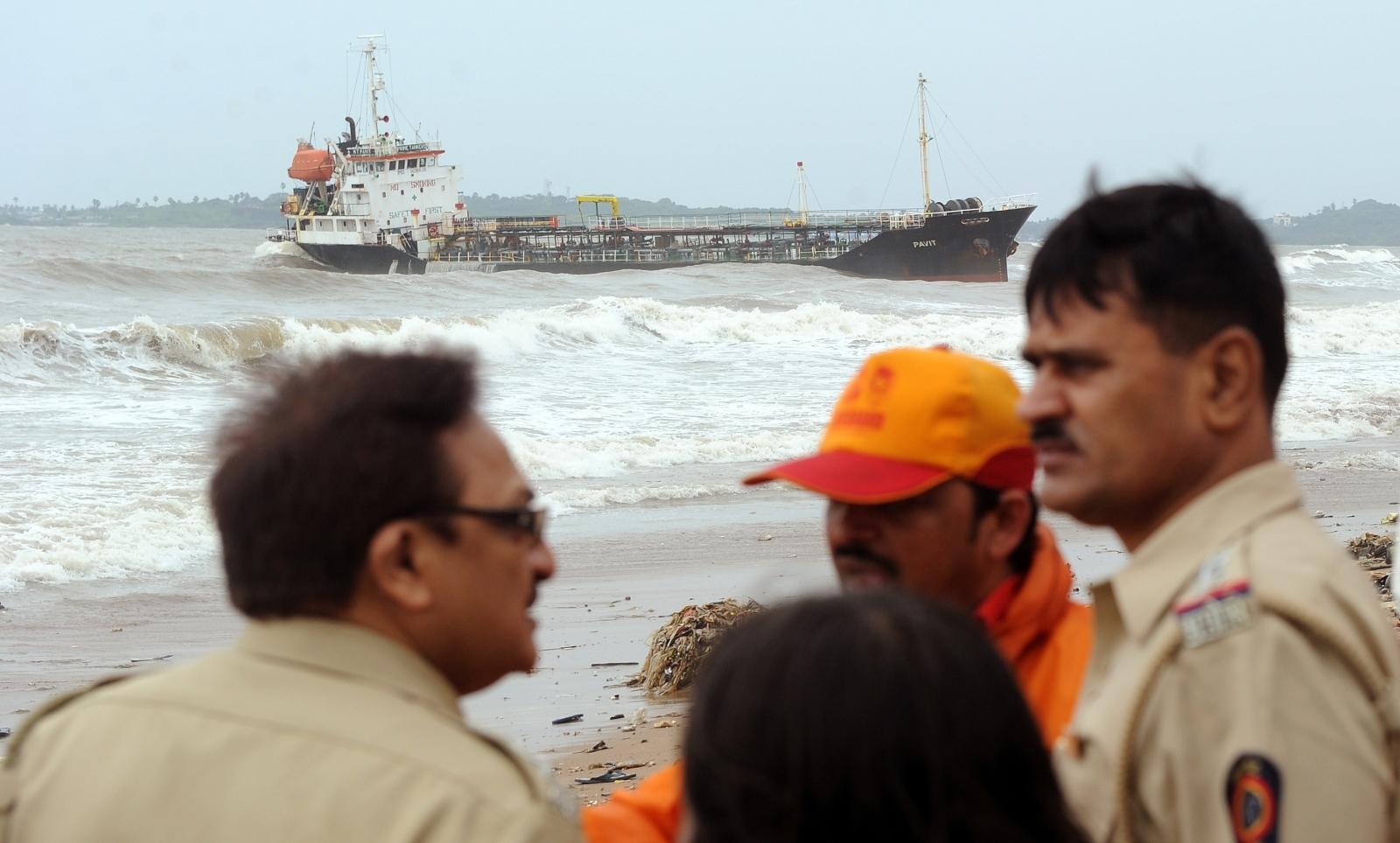 Abandoned ship off Mumbai coast