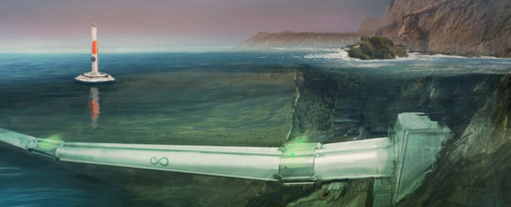 Hyperloop One's underwater transport system concept art