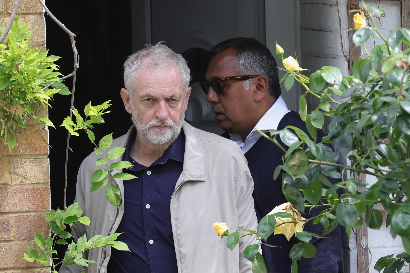 Corbyn outside his front door