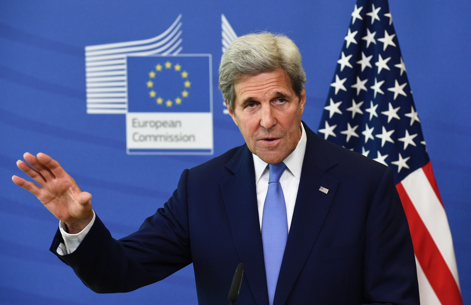 John Kerry speaking in Brussels